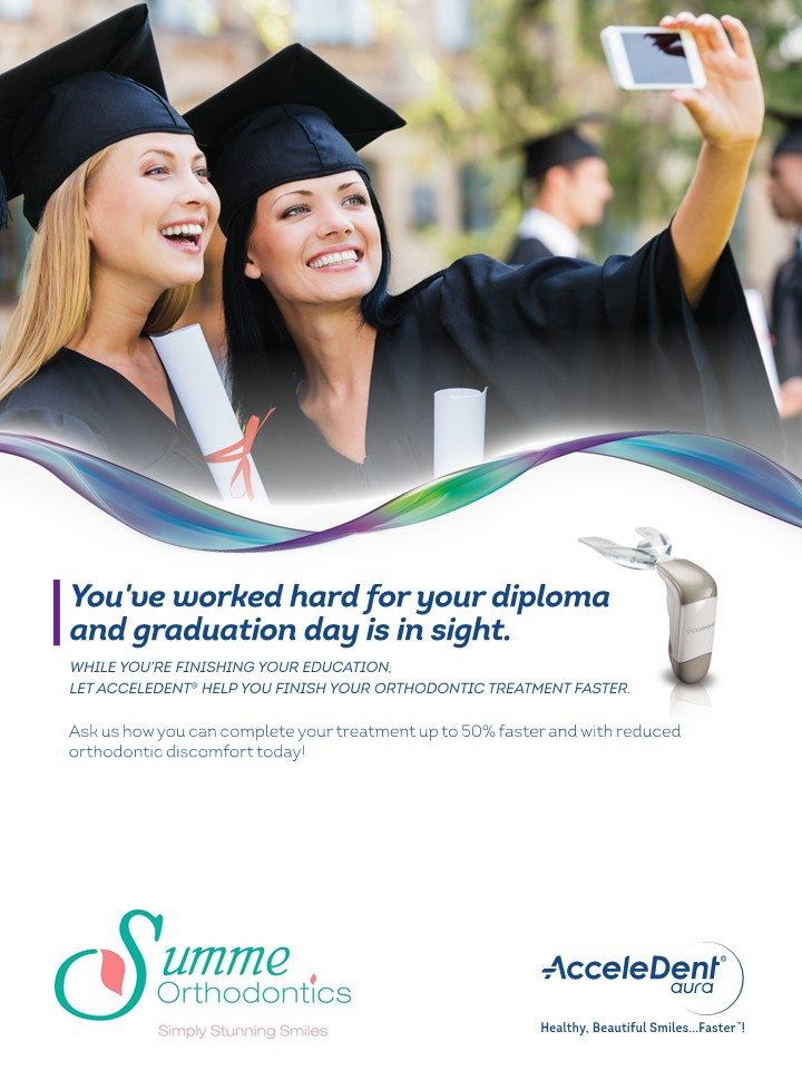 A picture of a flyer promoting an Acceledent special for graduation.